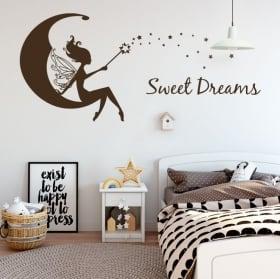 Vinilos decorativos hada en la luna sweet dreams