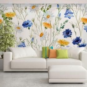 Murales de vinilos flores para decorar
