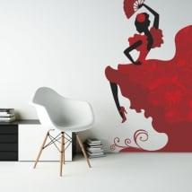 Vinilos decorativos silueta bailaora flamenco