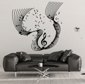 Vinilos decorativos pentagrama notas música