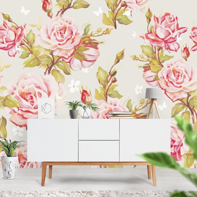 Fotomurales adhesivos con flores para decorar