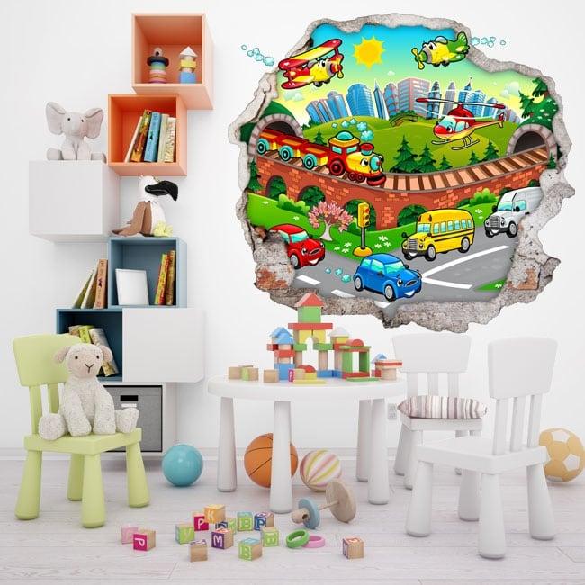 Vinilos decorativos ciudad infantil 3d