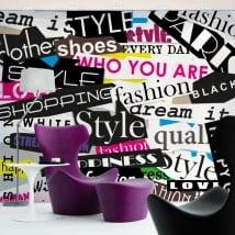 Fotomurales de vinilos collage textos moda y estilo