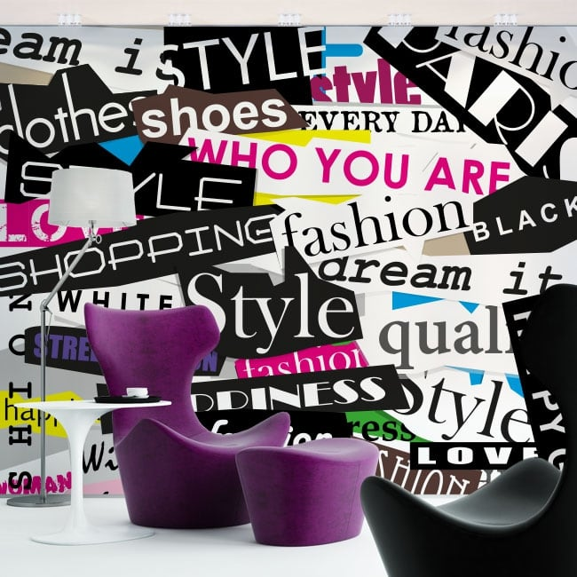 Vinilos De Moda.Fotomurales De Vinilos Collage Textos Moda Y Estilo