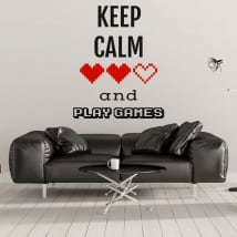 Vinilos decorativos frases keep calm and play games