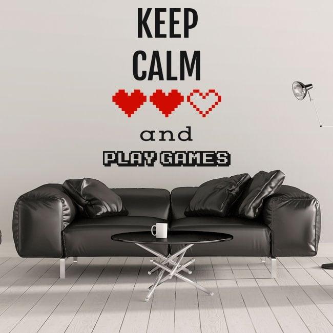 Vinilos decorativos frases keep calm and play games