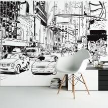 Fotomurales de vinilos ilustración ciudad