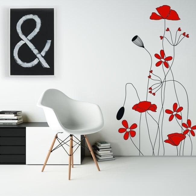 Vinilos decorativos y pegatinas flores rojas