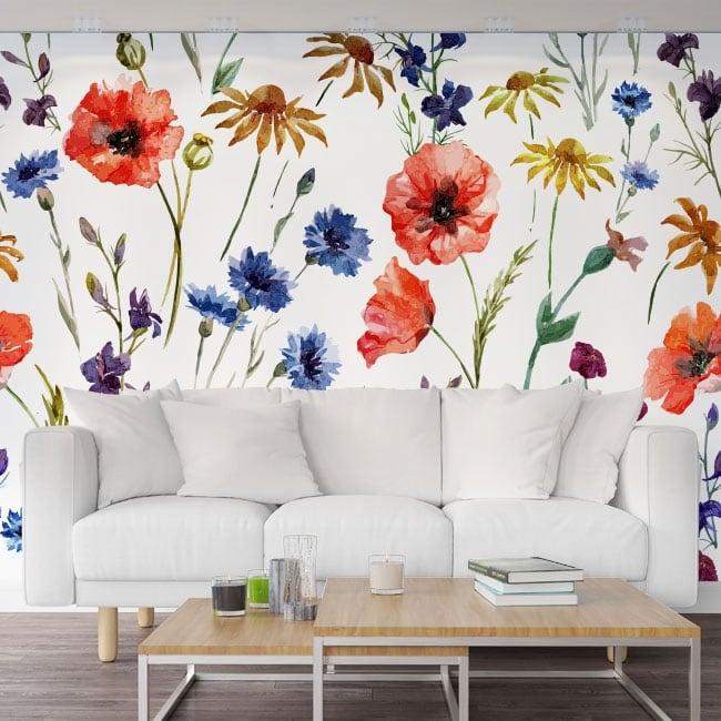 Murales de vinilos con flores para decorar