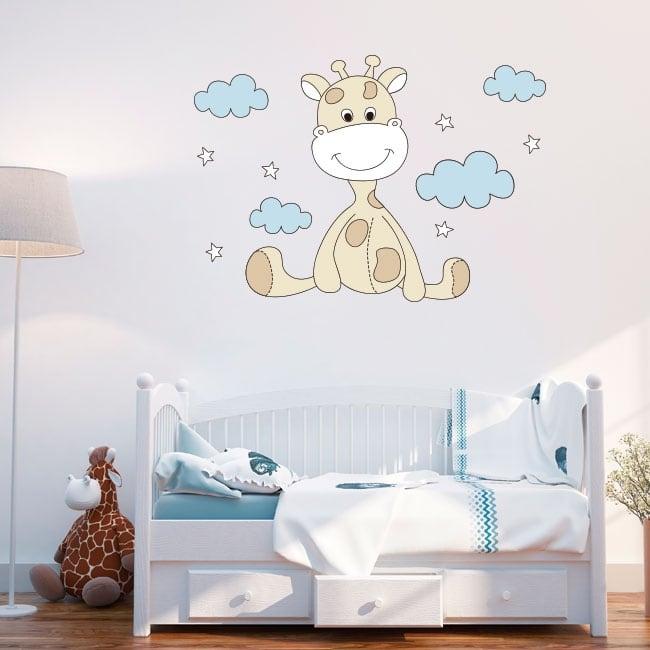 Vinilos para bebé jirafa nubes y estrellas