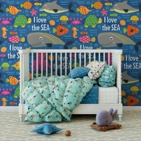 Murales de vinilos infantiles mundo marino