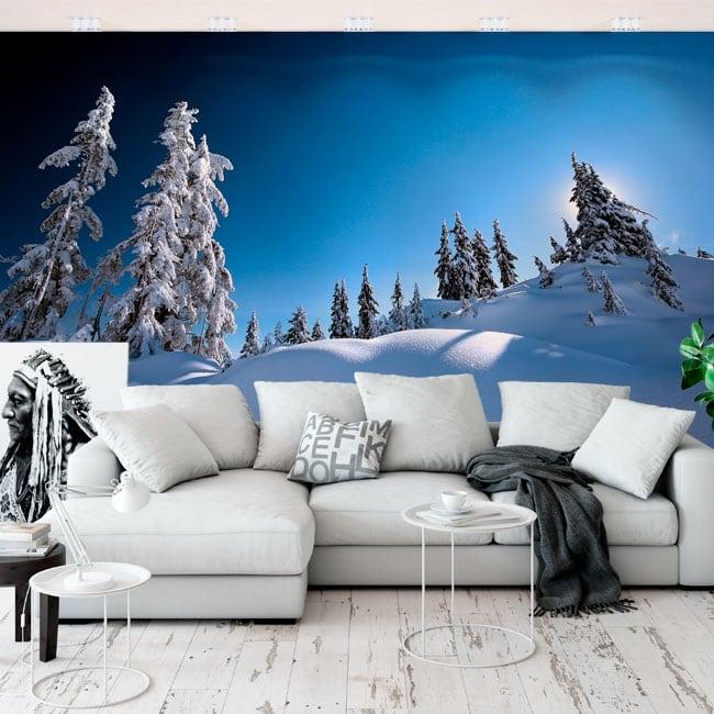 Fotomurales de vinilos pinos en la nieve