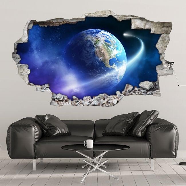 Vinilos paredes planeta tierra y cometa 3d