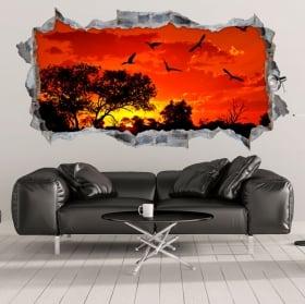 Pegatinas y vinilos decorativos atardecer en áfrica 3d