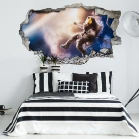 Vinilos paredes astronauta en el espacio 3d
