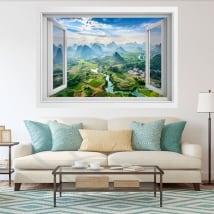 Vinilos decorativos ventanas ciudad guilin china 3d