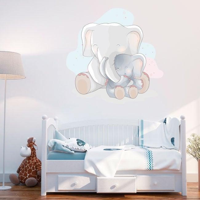 Vinilos para bebé elefantes amor de madre