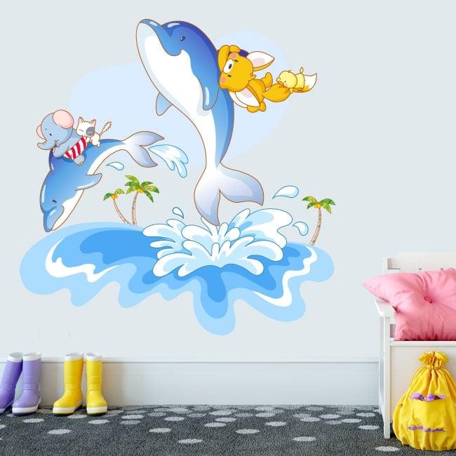 Pegatinas de vinilos delfines diversión infantil