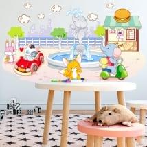 Vinilos y pegatinas infantiles animales jugando