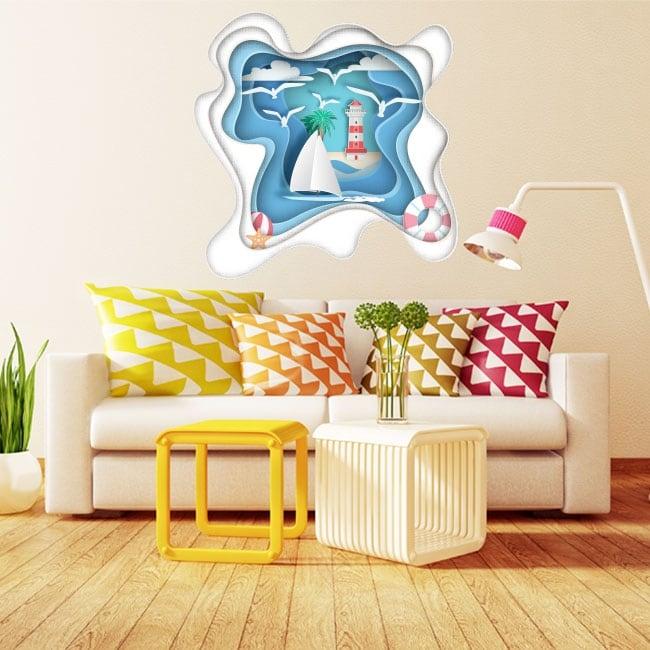 Vinilos decorativos velero y faro origami papel 3d