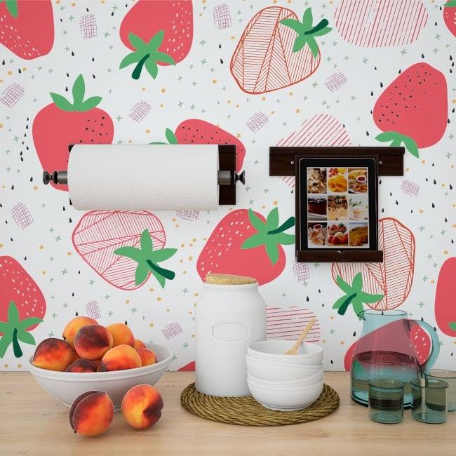 Fotomurales de vinilos fresas para decorar