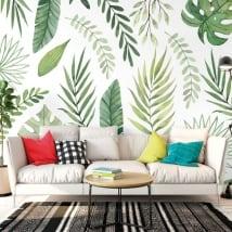 Fotomurales de vinilos con hojas de plantas para decorar
