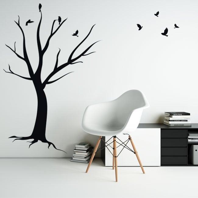 Vinilos decorativos y pegatinas árbol seco con pájaros