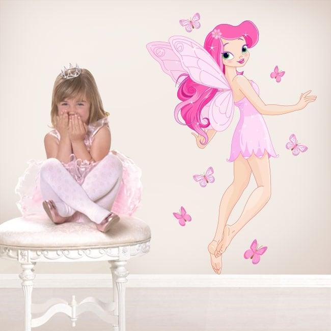 Pegatinas y vinilos infantiles hada con mariposas