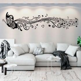 Vinilos decorativos mariposas y pentagrama música