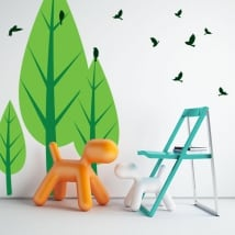 Vinilos decorativos árboles y pájaros
