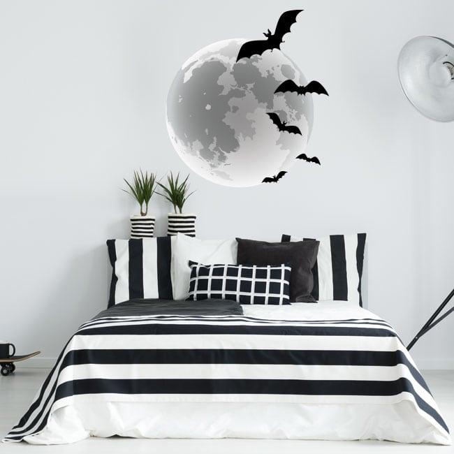 Pegatinas y vinilos murciélagos y luna llena