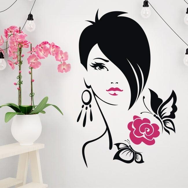 Vinilos y pegatinas silueta mujer flor con mariposas