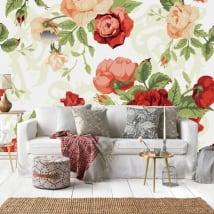 Fotomurales de vinilos rosas naturaleza vintage
