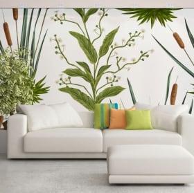 Fotomurales de vinilos con flores y espadañas o typha