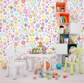 Murales de vinilos flores de colores