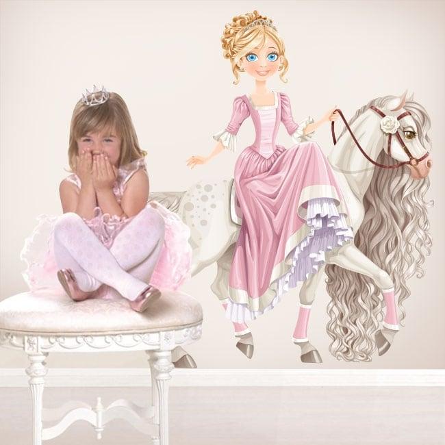 Vinilos decorativos infantiles princesa y caballo