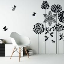 Vinilos decorativos flores mariposas y libélulas