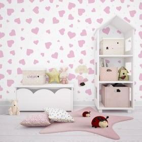 Fotomurales de vinilos adhesivos con corazones rosa