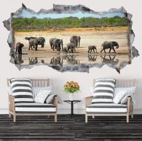 Vinilos decorativos y pegatinas elefantes 3d