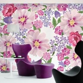 Fotomurales de vinilos adhesivos flores para decorar