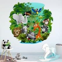 Vinilos decorativos y pegatinas infantiles animales en la selva