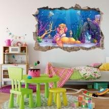 Vinilos decorativos y pegatinas infantiles sirenita en el mar 3d
