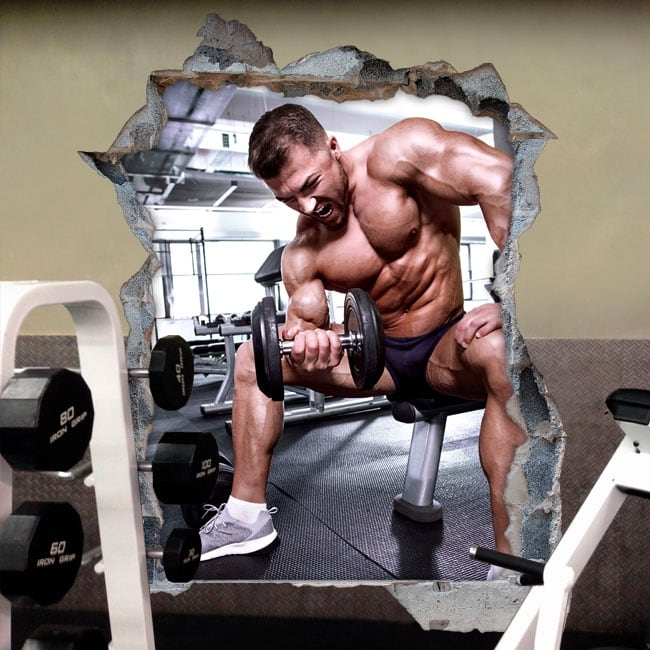 Vinilos decoración paredes gimnasios fitness 3d