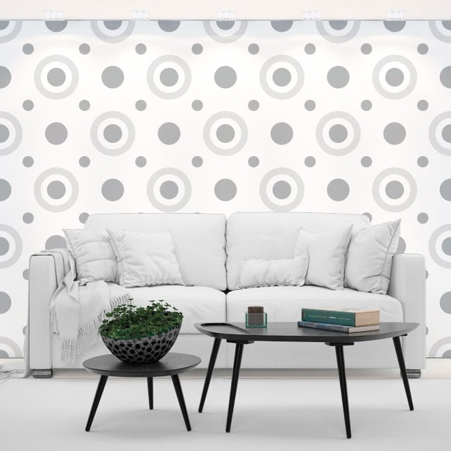 Fotomurales vinilos paredes círculos estilo retro