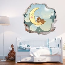 Vinilos decorativos infantiles osito dulces sueños 3d