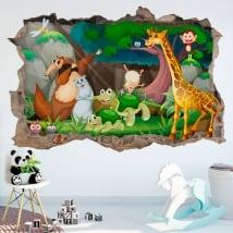Vinilos decorativos infantiles animales felices 3d