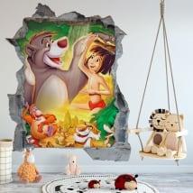Vinilos paredes el libro de la selva agujero 3d