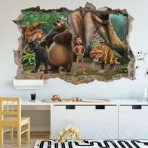 Vinilo pared el libro de la selva 3d