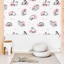Fotomurales de vinilos paredes gatos yoga