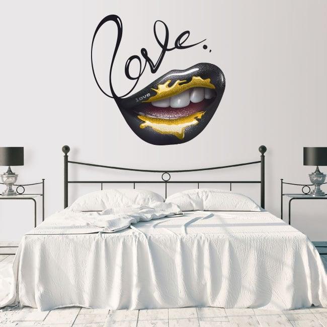 Vinilos paredes boca love
